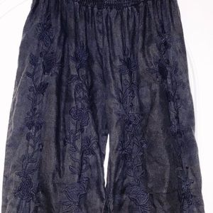 Johnny Was black side split cotton pants in medium